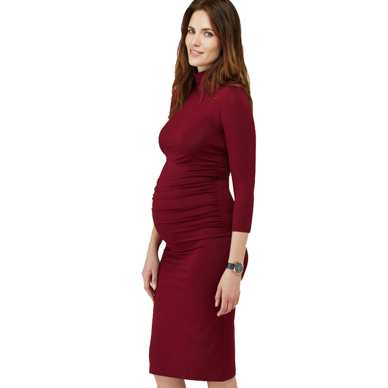 Knee Length Maternity Dress for Pregnant Women Spring Autumn Elegant Turtleneck Office Lady Vestido Long Sleeve Maternity Top womens linen casual blazers elegant autumn office business outwear jacket top blazer half sleeve single button slim wear to work