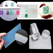 Conjunto de carimbo para arte em unha, silicone com tampa, raspador de esmalte, placa de impressão de imagem, kit de ferramentas de manicure de transferência plástica