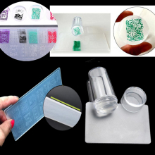 Set Nail Art Stamper Stamping Silicone With Cap Scraper Polish Image Print Plate Template Plastic Transfer Manicure Tools Kit