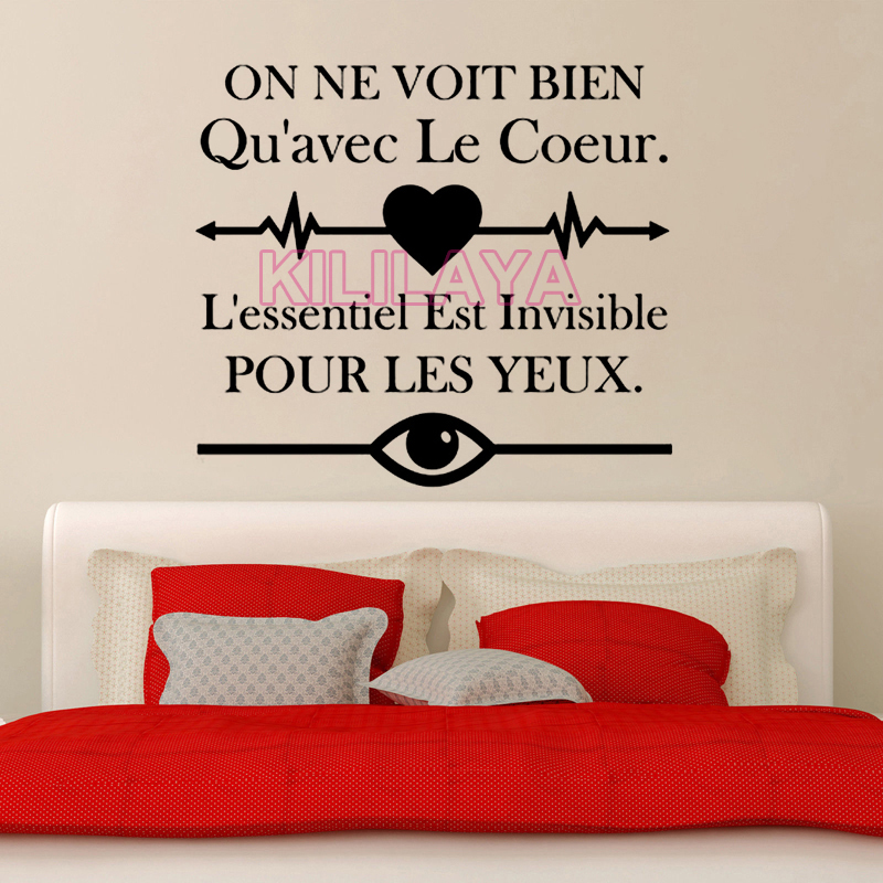 French Wall Stickers On Ne Voit Bien Quavec Le Coeur For Living Room