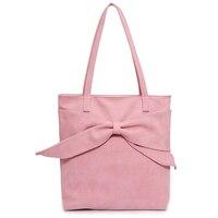 Korean Women Big Bow Scrub Leather Tote Bag Sweet Girls Pink Shoulder Bag Double Straps Ladies Casual Handbag Bolsas