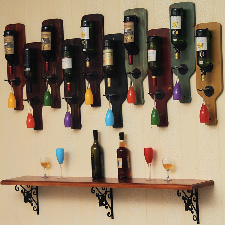 Vintage wood real wood frame wall hanging ornaments Wine Glass Goblet of wine rack rack