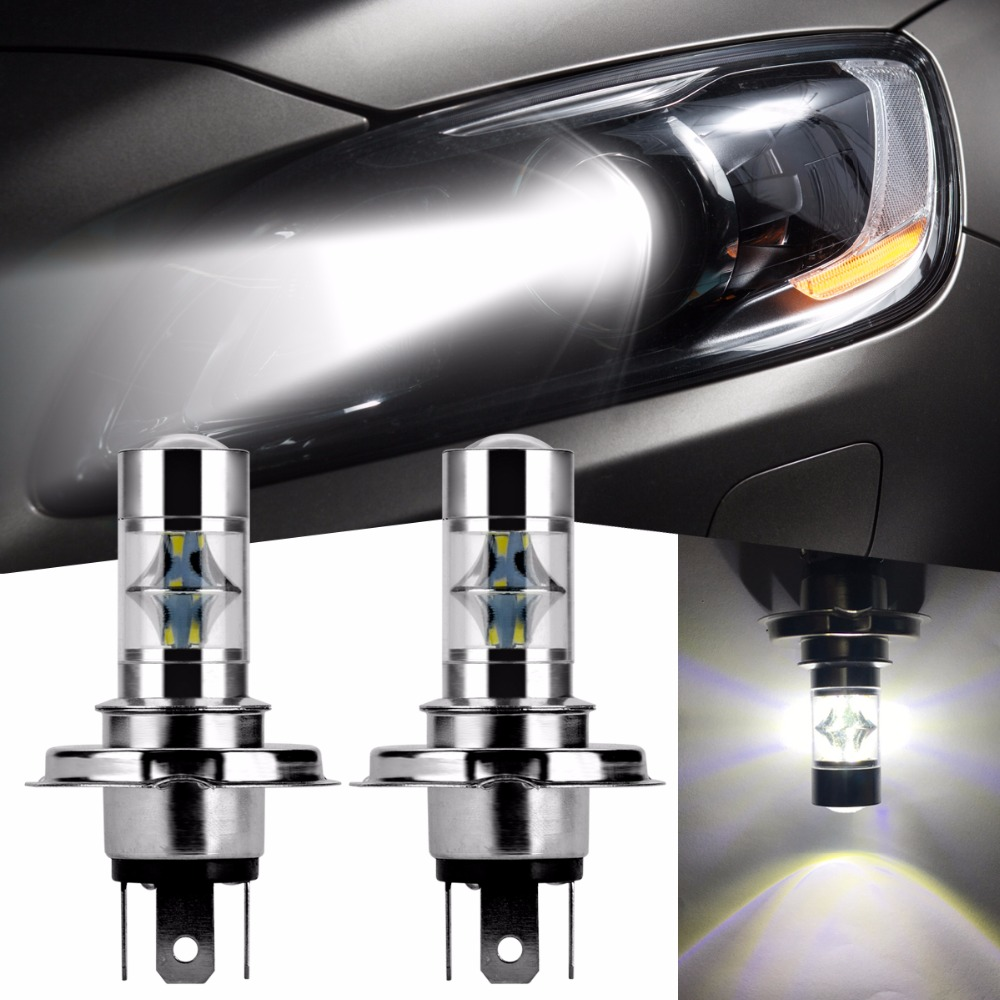2Pcs H4/9003/HB2 Car LED Bulb 6000K for Cree Chip SMD 6000K High Low Beam Light Headlight Bulb Auto fog lights Lamp DRL 1 pair h4 9003 hb2 led bulb for cars auto led headlight kit h4 high low beam head light 30w 4200lm 12 smd super bright