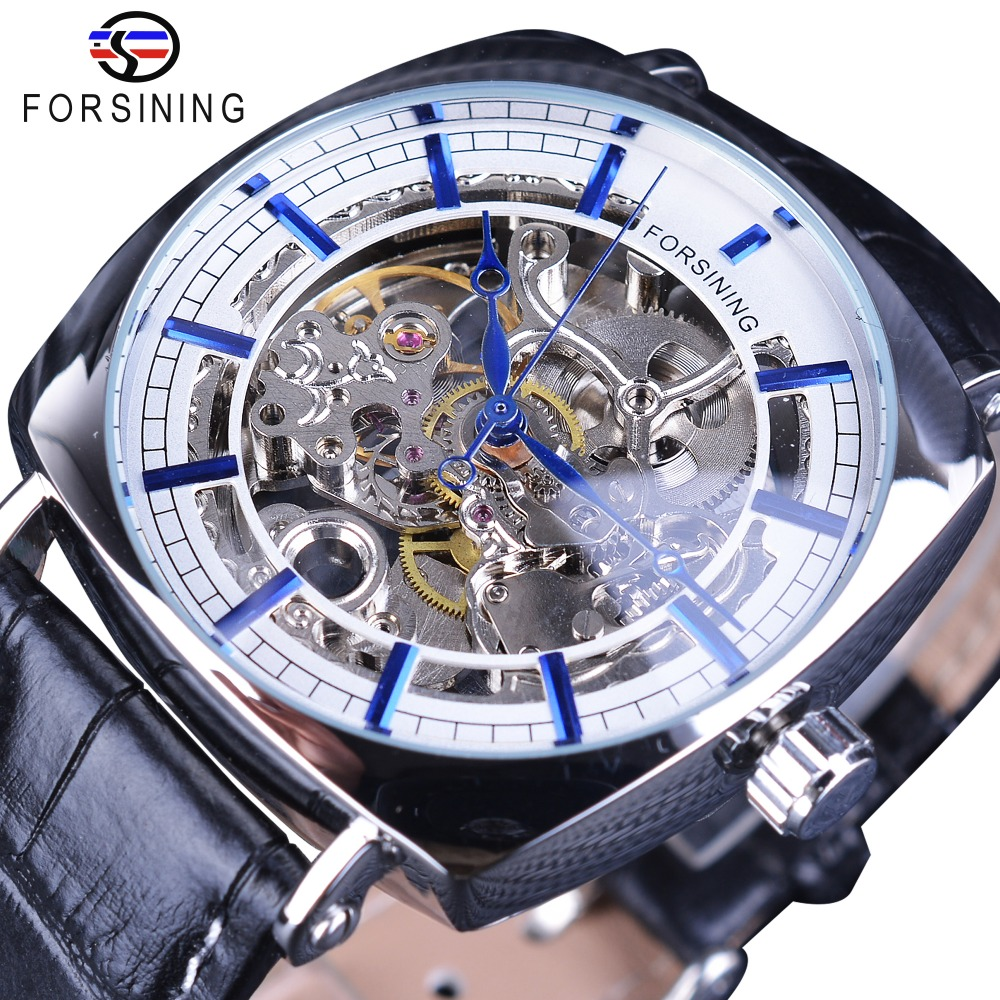 Forsining 2018 New Limited Edition Blue Hands Transparent Flower Movement Case Genuine Leather Belt Gear Luxury Automatic Watch new mf8 eitan s star icosaix radiolarian puzzle magic cube black and primary limited edition very challenging welcome to buy