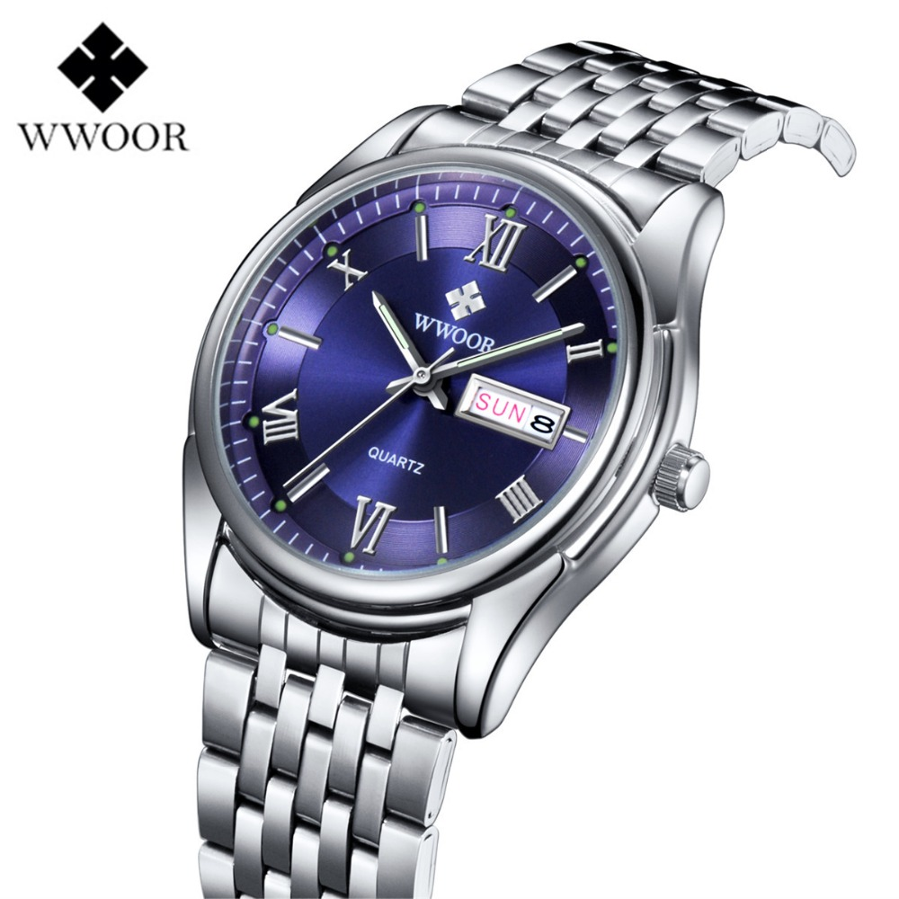 ФОТО WWOOR 2017 Fashion Brand Casual Waterproof Watch Business Full Stainless Steel Quartz Wristwatch Hours Clock Relogio Masculino