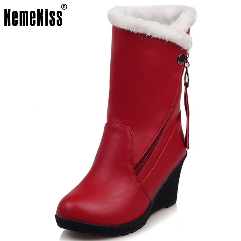 KemeKiss Size 30-52 Woman Round Toe Wedge Mid Calf Boots Women Thickened Fur Winter Warm Half Snow Botas Shoes Footwear dfc i 06cl