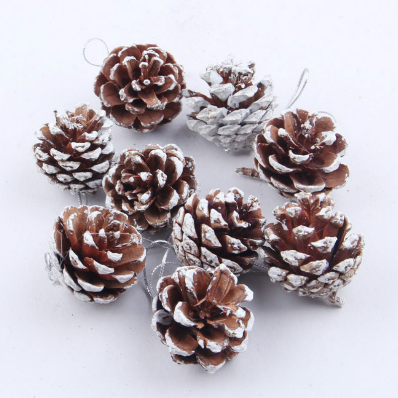 9Pcs/set Christmas Tree Ornament Hanging Balls Pine Nuts Pinecone Xmas New Year Christmas Decoration For Home Parties Supplies