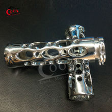 Motorcycle Silver 1″ Aluminium Chrome Hand Grips Handlebar End Grip For Harley Chopper Bobber Customs Cruiser