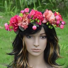 CXADDITIONS Adjustable Peony Rose Flower Crown Wedding Bridal Head Tiara Hair Floral Headband Woman Ribbon Headwrap