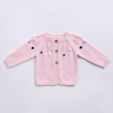 Knit Infant Sweater Tops For New Born Baby Girls Crochet Cotton Pom Pom Child Sweaters Cardigan Kids Winter Knitted Clothes Baby недорого