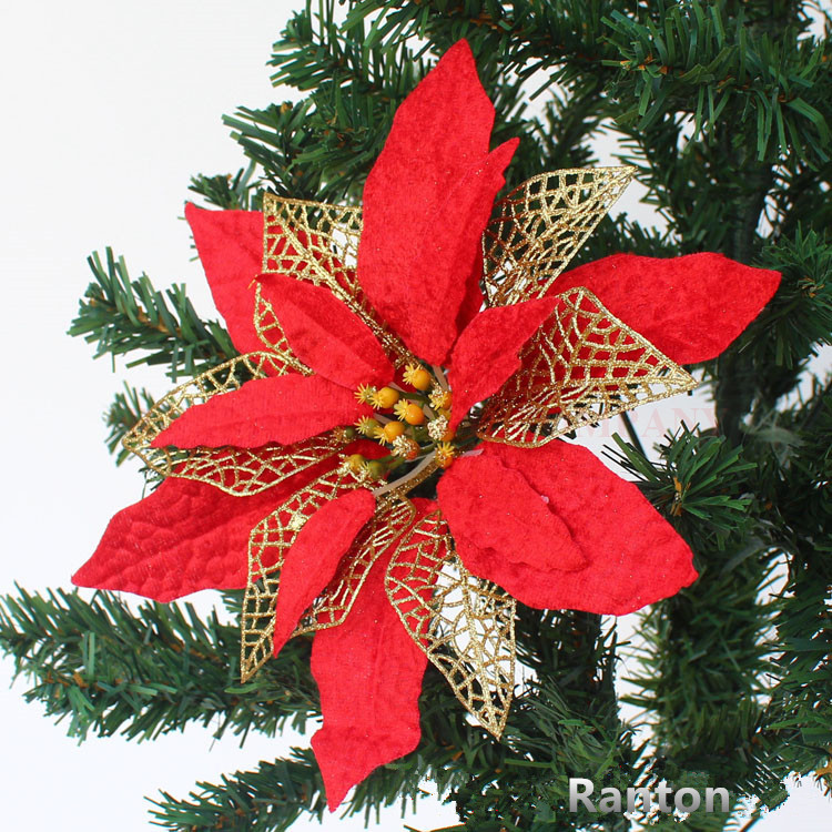 Christmas Tree Flower Power : New fashion red christmas tree ornaments year flower