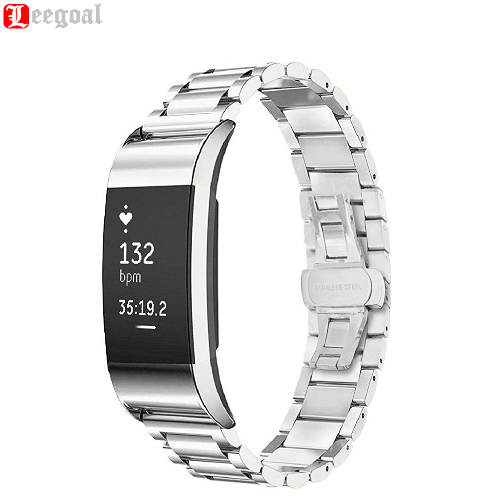 Stainless Steel Metal Watchband For Fitbit Charge 2 Bracelet Wrist Strap Watch Band For Charge 2 Wristband Butterfly Clasp Belt