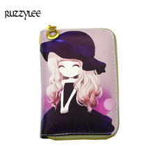 New Cartoon Printed Womens Wallets Small Zipper Leather Female Purses For Mini Cute Women Wallet Girls Card Holder Ladies Purse