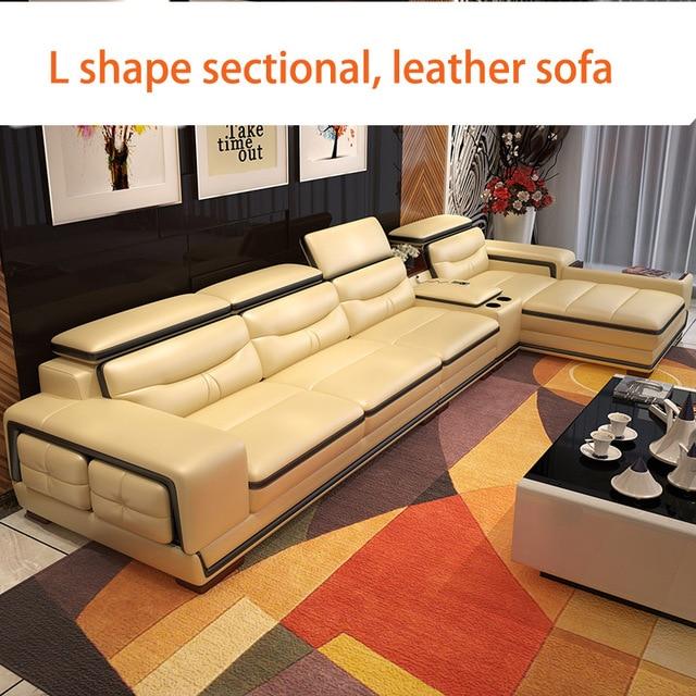 Living Room L Shape Leather Sofa w/ Storage Corner  1
