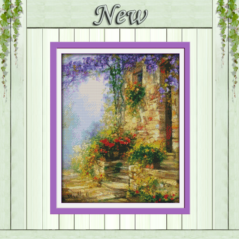 Flower Path,Counted Printed On Canvas DMC 11CT 14CT Cross Stitch Kit,needlework Set Embroider,home House Garden Scenery Painting