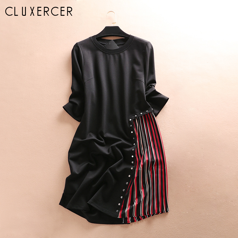 2019 New Plus Size Summer Dress Women Vintage O Neck Three Quarter Sleeve Striped Loose Dress