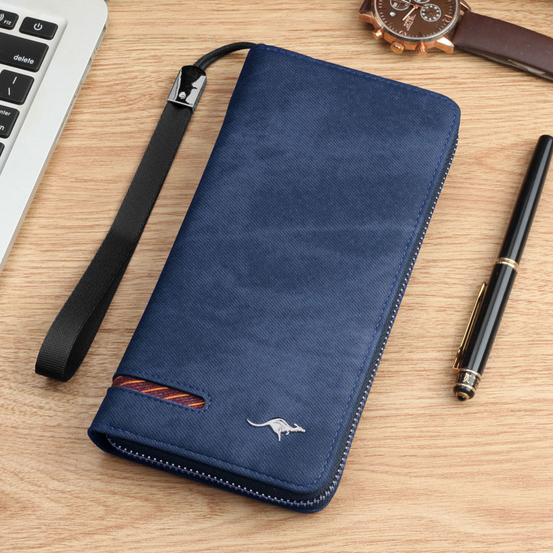 Brand kangaroo Men Wallets vintage genuine canvas Men purse Coin Purse High Capacity Clutch wallet Male Wrist Strap phone Wallet in Wallets from Luggage Bags