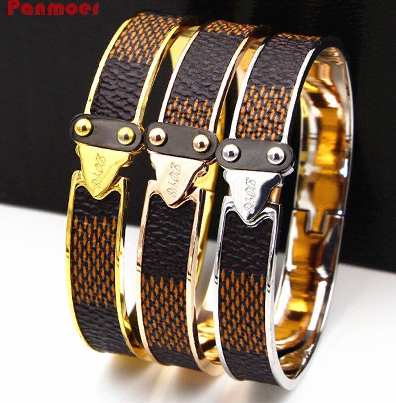 Luxury brand stainless steel grid grain letter love bracelet cuff bangle for women fashion Wide Leather Buckle H bracelet gift blue original letter wide bangle