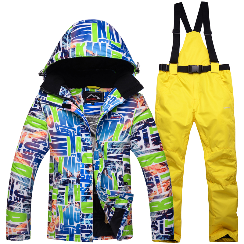 все цены на Ski Suit Men Women 2018 New Hot Waterproof Skiing Jacket Clothing Outdoor Winter Snow Couple Ski Jacket + pants Snowboard suits онлайн