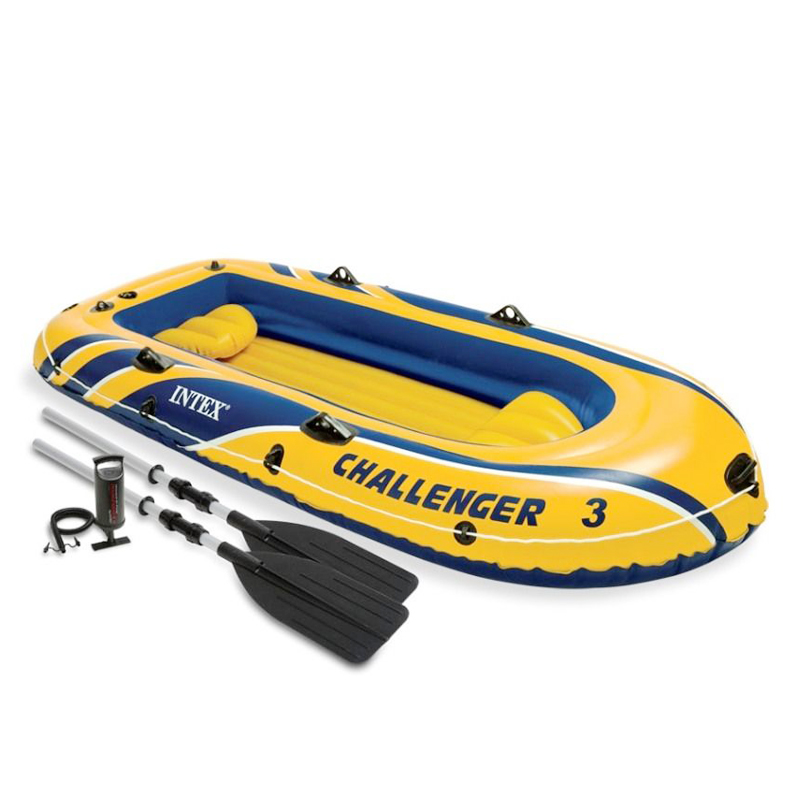 Intex Challenger 3 Inflatable Boat Set with Pump and Oars 3-Person Water Sport # 68370 gun motorcycle inflable swimming animal modeling seat inflatable boat float boat water sports children mounts kids toy