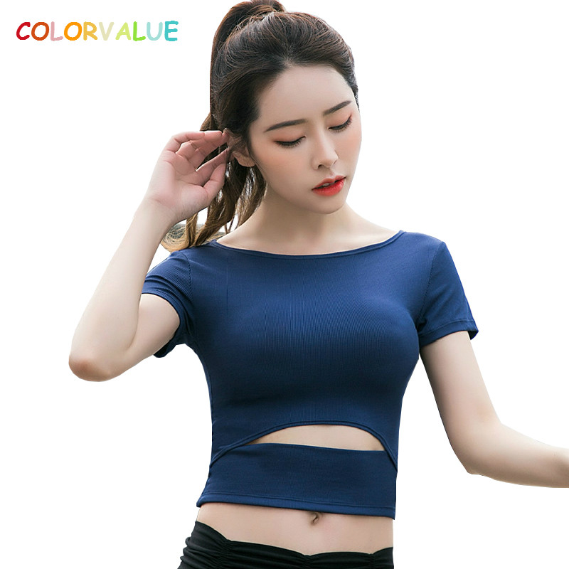 Colorvalue Sexy Hollow Out Fitness Yoga Crop Top Women Quick Dry Training Short Sleeve Shirts Skinny Solid Running Gym T-shirt