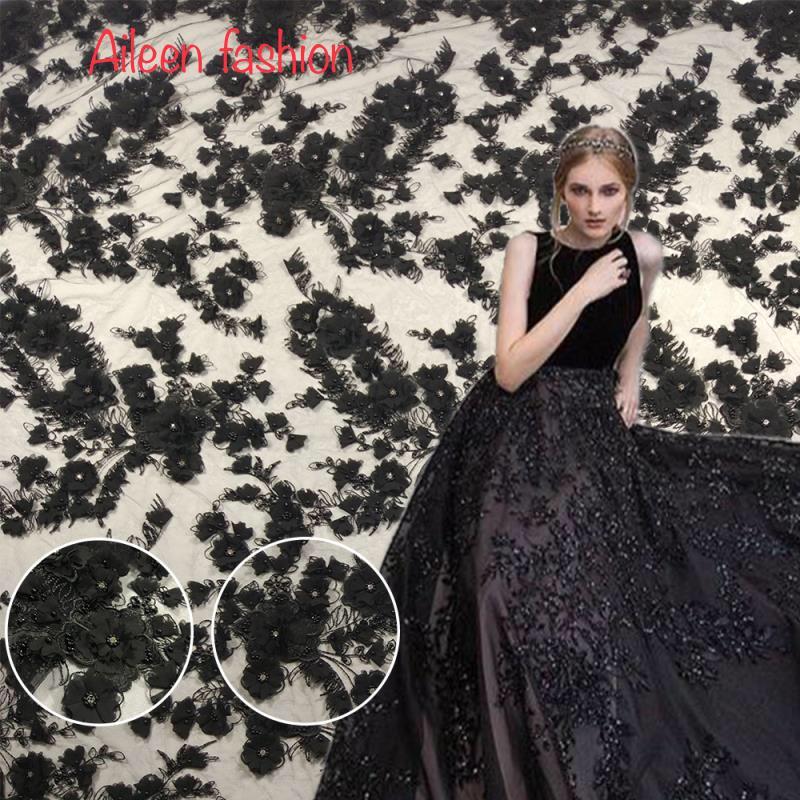 Noir appliqued dentelle tissu de luxe à la main mousseline de soie fleur fleurs 3d floroal diamant dentelle livraison gratuite