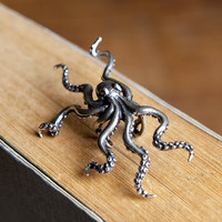 UMGODLY Retro Punk Deep Sea Big Octopus Ear Clip S925 Sterling Silver Hyperbole Earrings Non Perforated Women Jewelry