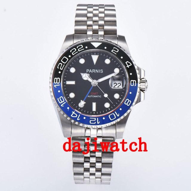 40mm PARNIS שחור חיוג שחור/כחול bezel ספיר קריסטל תאריך GMT אוטומטי mens שעון מכאני שעונים