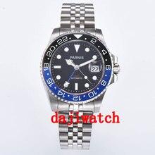 40mm czarna tarcza parnis czarny/niebieski bezel szafirowy kryształ data GMT automatyczny męski zegarek zegarki mechaniczne