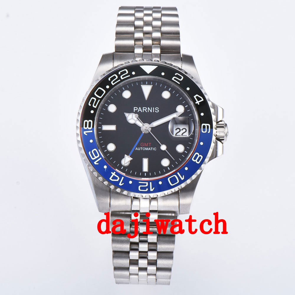 Moldura de Cristal Parnis Mostrador Preto Azul Safira Data Gmt Automático Relógio Masculino Relógios Mecânicos 40mm –
