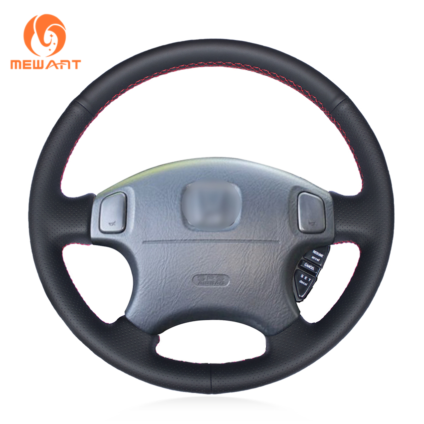 MEWANT Black Genuine Leather Car Steering Wheel Cover for Honda CRV CR-V 2000-2002 Accord 6 1998-2003 Acura CL Type-S 2001-2003
