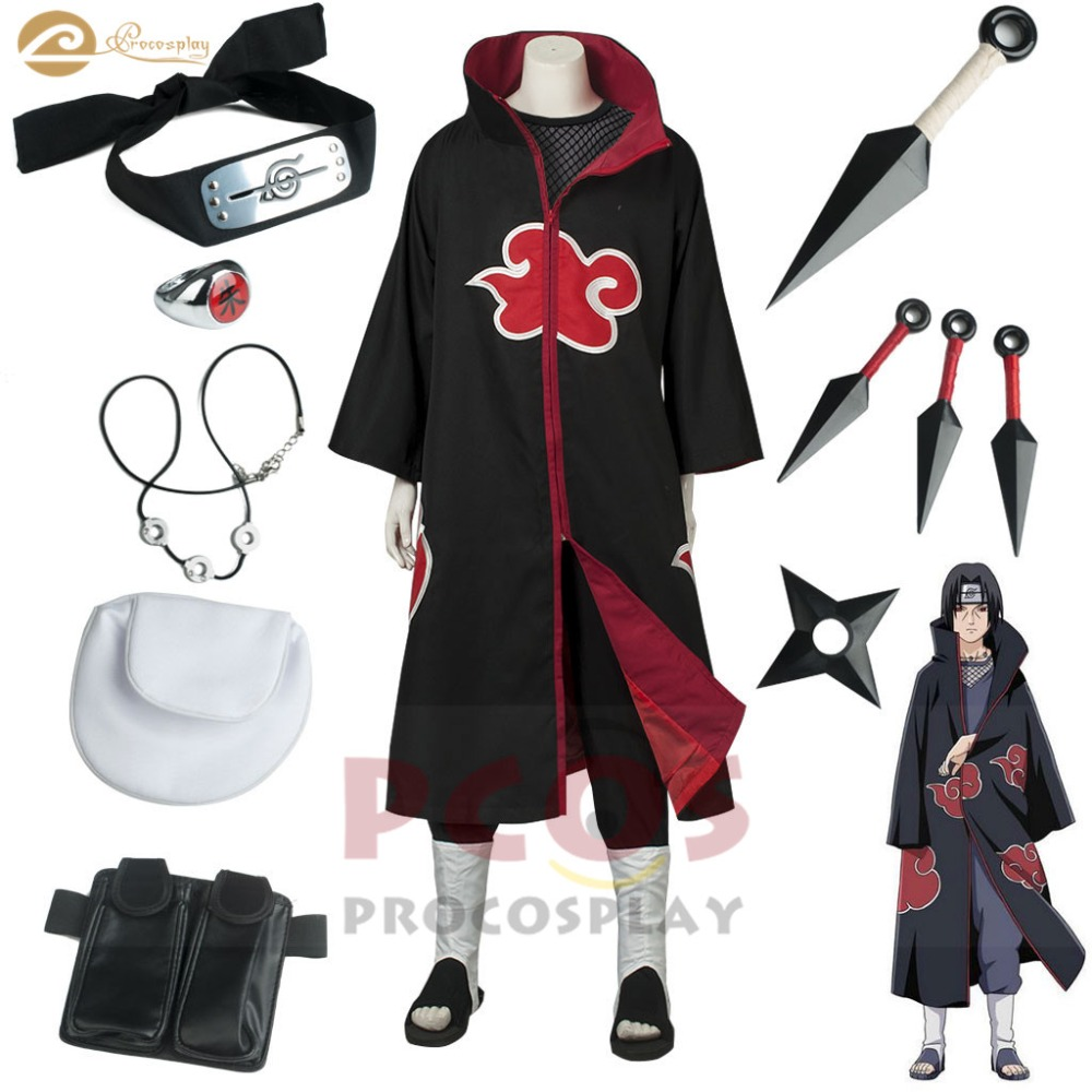 Naruto Shippuden Best Set ~ Akatsuki costume Uchiha Itachi Clan Killer Itachi cosplay costume Amaterasu mp000027