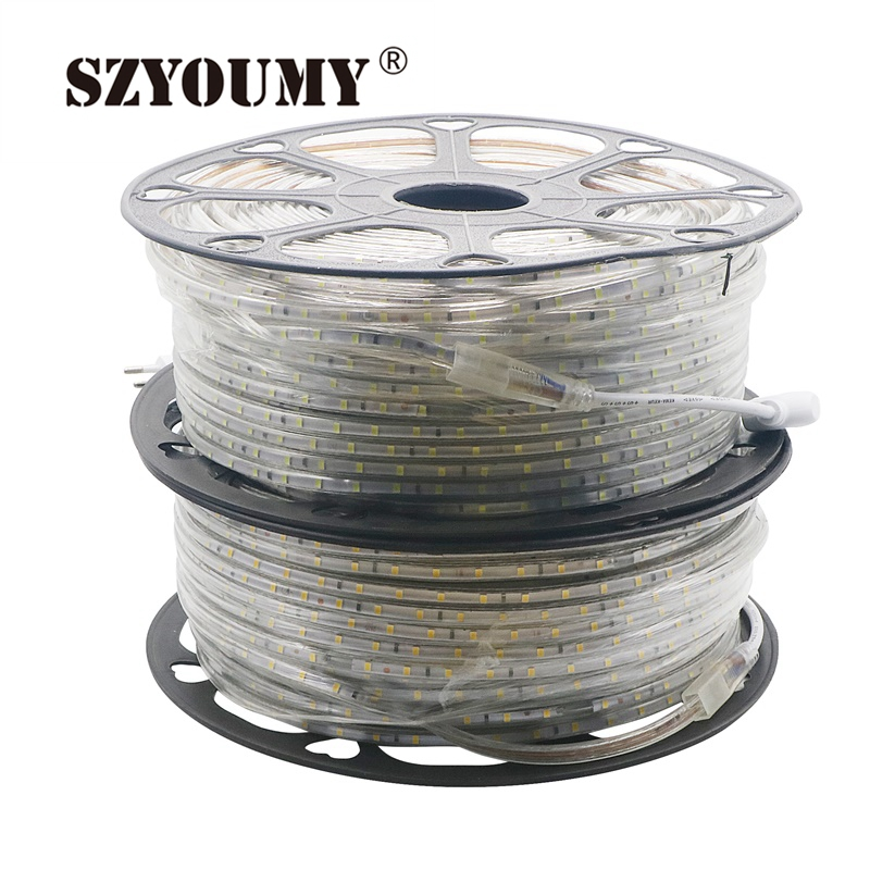 SZYOUMY 220 v Led Streifen 2835 60 Leds/M IP65 Wasserdicht Mit Power Adapter Flexible LED Band band Im Freien 50 mt 100 M Freies Einzelteile - 6