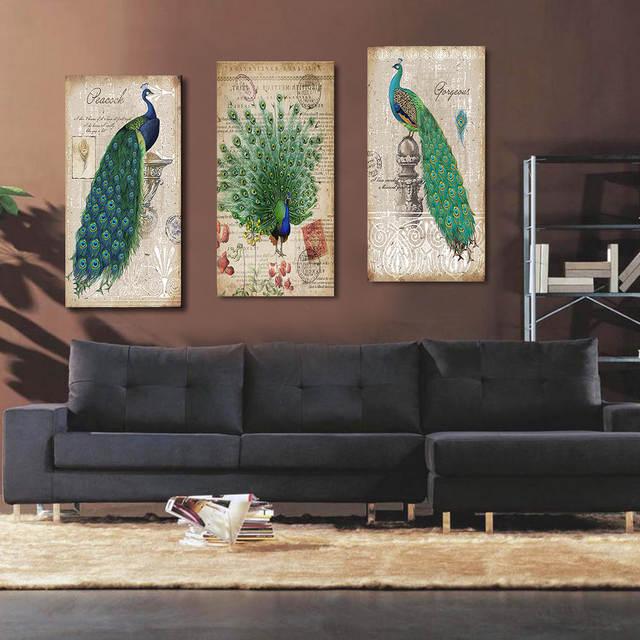 Pittura Per Arredamento Moderno.Peacock Stampe Su Tela Pittura Casa Arredamento Moderno Animale Di Arte Della Parete Pittura Pavone Senza Cornice Vintage Blu Pavone Pittura Murale