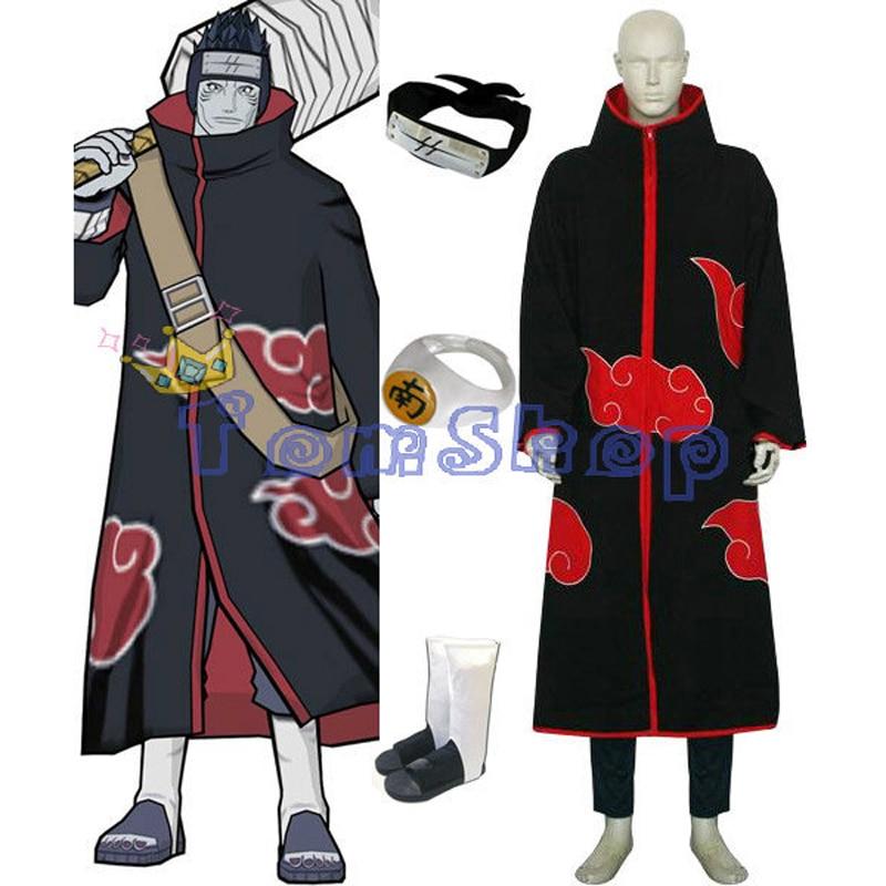 Аниме Наруто Акацуки Хошигаки Кисаме Deluxe Косплэй костюм 6 в 1 полный набор (плащ + фу ...