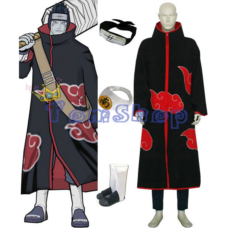 Anime Naruto Akatsuki Hoshigaki Kisame Deluxe Cosplay Costume 6 in 1 Full Combo Set (Cloak+T-Shirt+Pants+Headband+Boots+Ring)