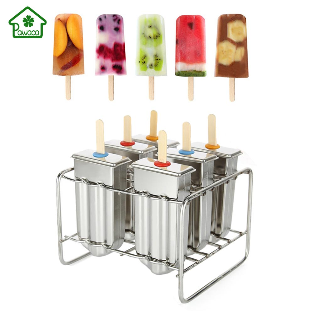 Frozen Stainless Steel Popsicle Molds Ice Cream Stick Holder 6 Molds Summer Home DIY Ice Cream Mould Ice Pop Mould Easy to clean