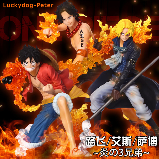 One Piece Attack Styling Ace Sabo Luffy 3pcs Set Action Figures Fire