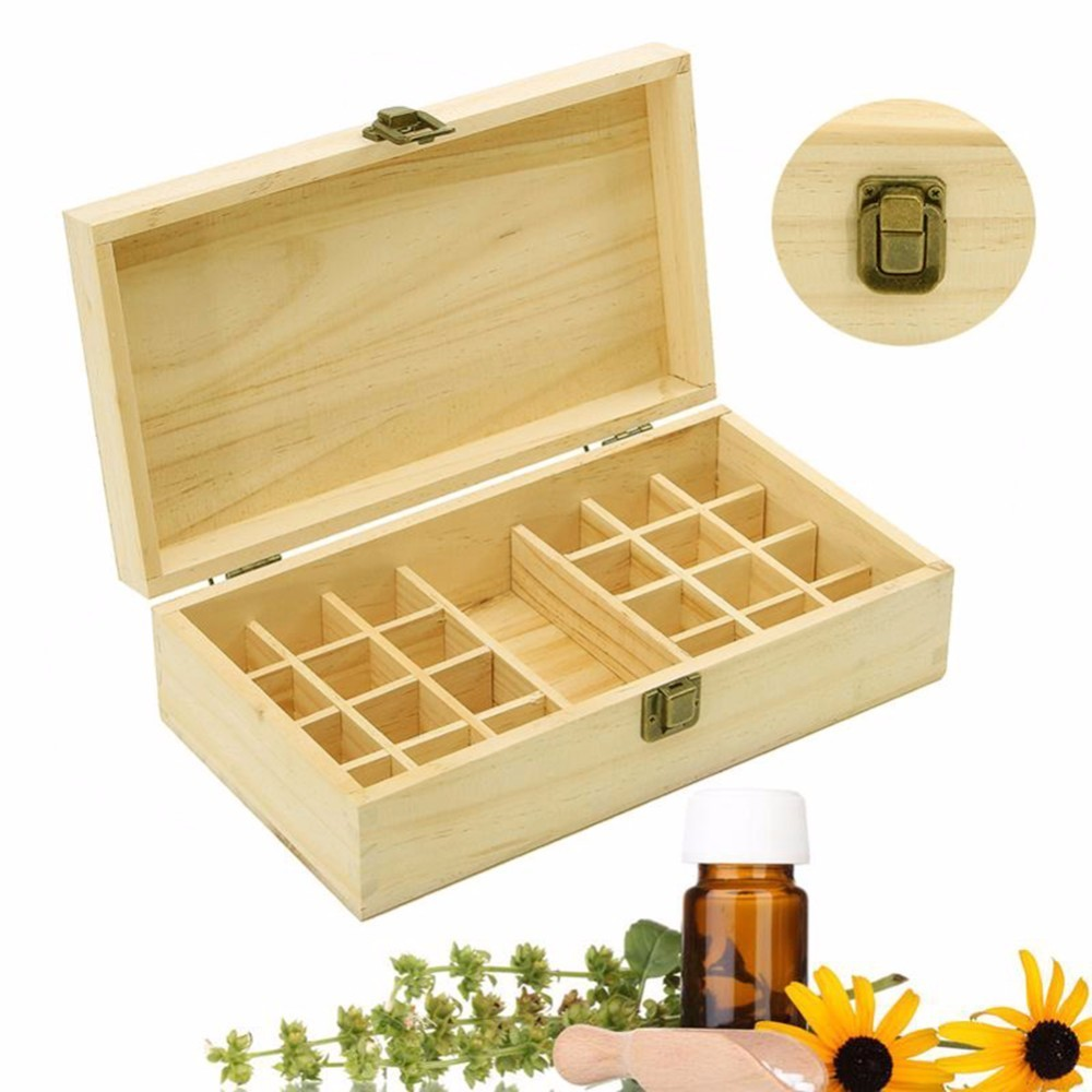 Handmade 25 Holes Essential Oils Wooden Boxes 5 10 15ml