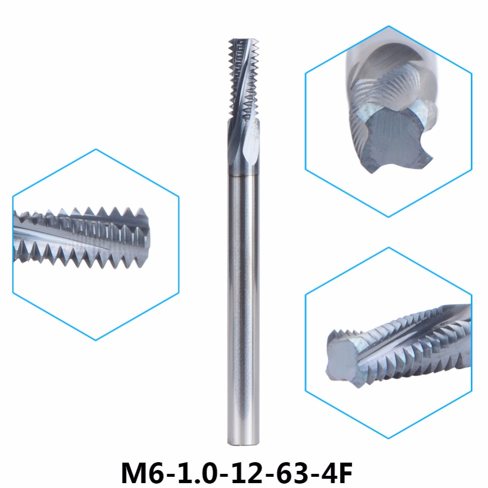 1pc M6-1.0-12-63-4F Tungsten Carbide thread end mill M5 thread milling cutters P1.0 with TIALN coating Metric 1.0mm Pitch 1pc m5 0 8 10 57 4f tungsten carbide thread end mill m5 0 8 thread milling cutters with tialn coating metric 0 8mm pitch