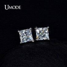 UMODE Серьги-гвоздики с очаровательными крошечными фианитами огранки Принцесса 5мм 0,63к UE0049