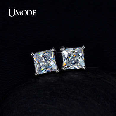 UMODE Tiny Delighted Small 5mm 0.63ct Princess-cut Zirconia Stud Earrings UE0049