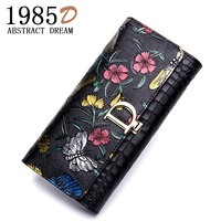new Silver Rose women wallet , Cow lady Leather wallet , dragonfly classic bag 2019 fashion butterfly purse holders , 3 D wallet