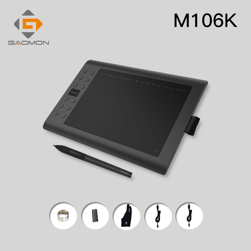 GAOMON M106K 10X6 25 inch Professional Grahpic Tablet with Animation Anti fouling Glove for Drawing