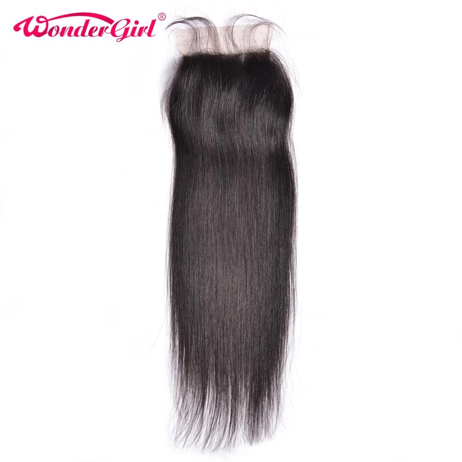 Wonder girl 4x4 Düz Kapatma Bebek Saç Doğal Renk Ile Malezya Remy - İnsan Saçı (Siyah)