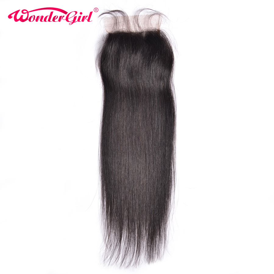 Wonder girl 4x4 Straight Closure With Baby font b Hair b font Natural Color Malaysian Remy