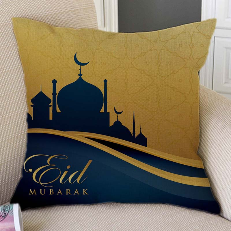 Islam Muslim Decoration Art Golden Eid Mubarak Festival Decoration Throw Pillow Case Mosque Arab Design Sofa Cushion Cover Case