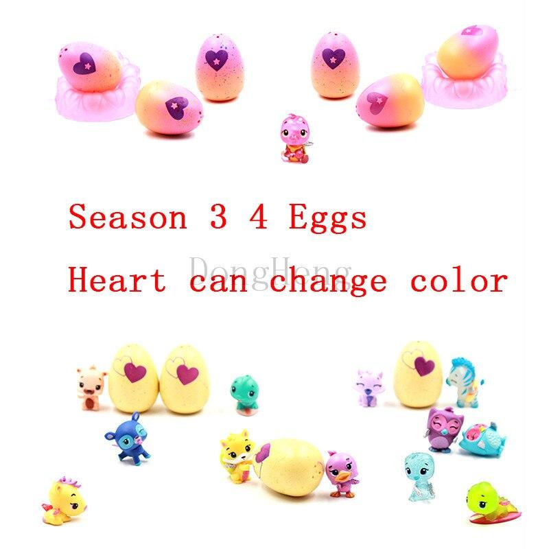 2018 magie Schlüpfen 4 paket Überraschung Hatchi Eier Hatchable Ei 4 Pack + Bonus Überraschung Puppe Spielzeug Tier Ei Mini cartoon Für Kinder