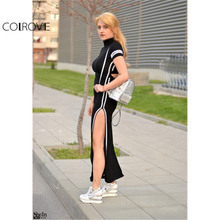 Cut Out Striped Trim Short Sleeve High Neck Split Sheath Maxi Dress