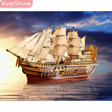 EverShine 5D Diamond Painting Scenery Full Display Picture Of Rhinestones Embroidery Ship Mosaic Kits